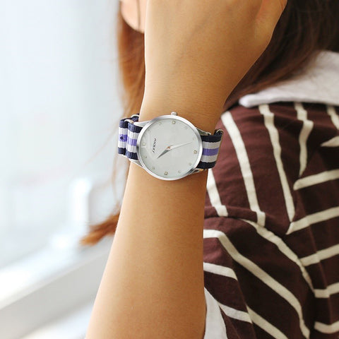 Ultra Slim Woman Casual Quartz watch Diamond Dail Ladies Brand Classic Nylon Strap Wristwatch Japan 2016 relojes mujer