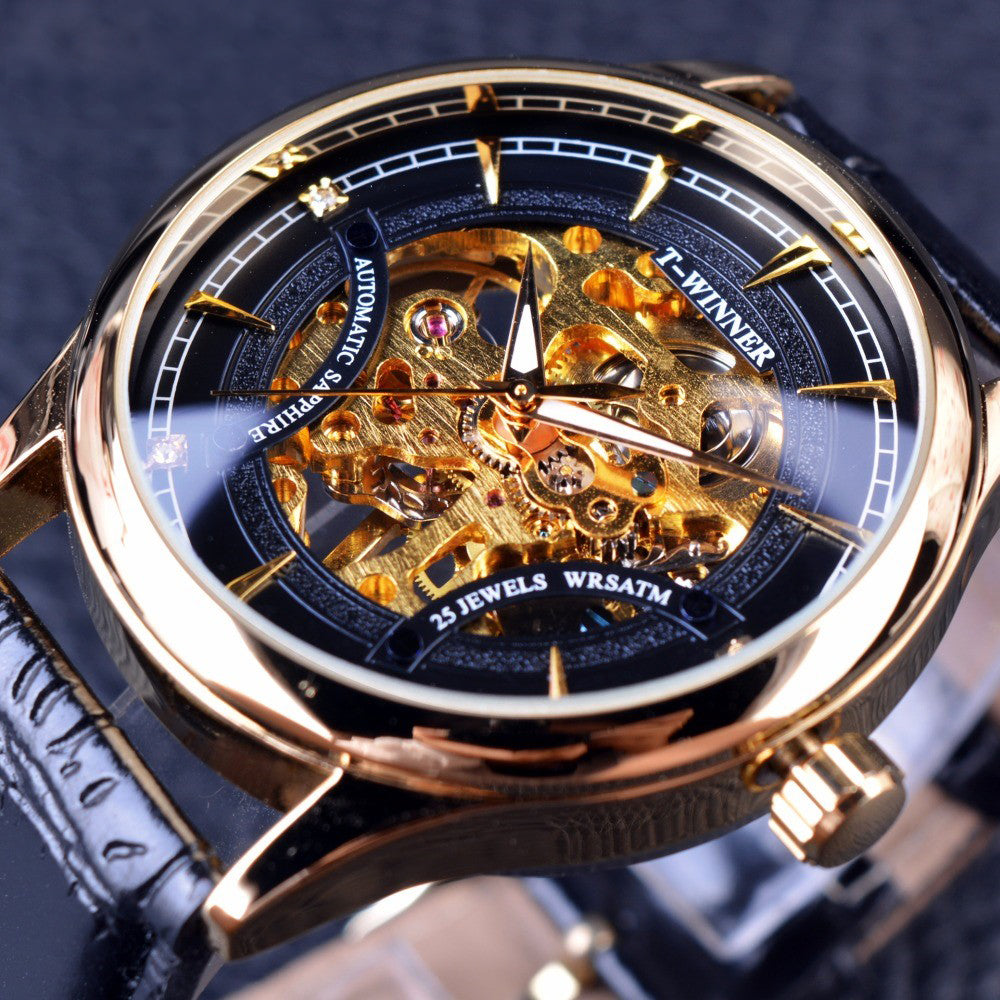 Black Golden Star Luxury Design Skeleton Watch