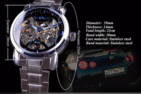 Image of Blue Ocean Casual Design Stainless Steel Skeleton Watch