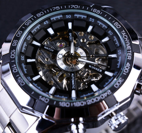 Image of Stainless Steel Casual Skeleton Watch