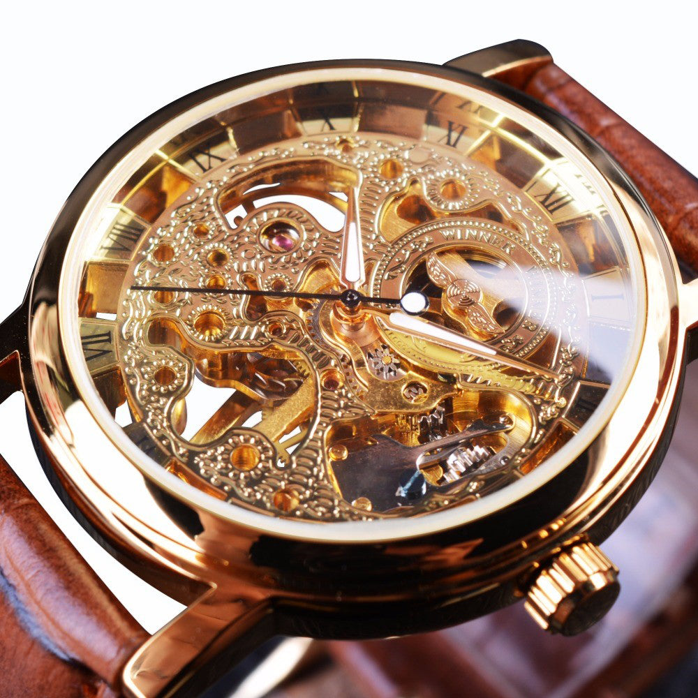 Transparent Brown Leather Skeleton Watch