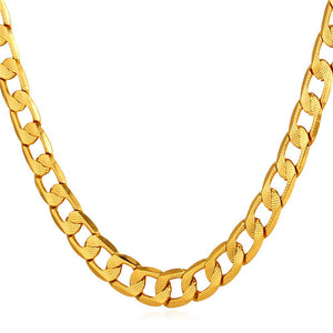 Gold Color Cuban Link Chain For Men/Women Jewelry Wholesale New Trendy Long/Choker Necklace N603