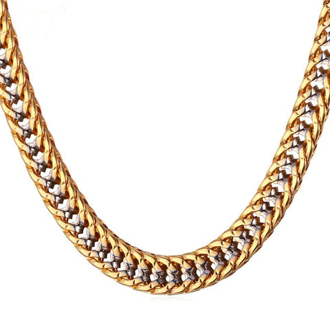 Image of Two Tone Gold Color Chain Necklace Men Collier Rapper Jewelry Fashion Trendy Franco Necklaces N437