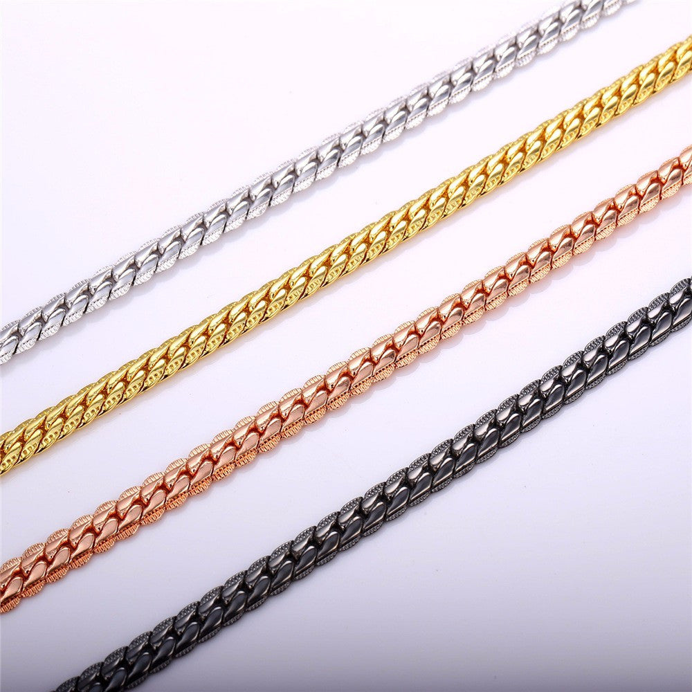 Gold Color Chain Bracelet  Men Jewelry Gift Wholesale 21CM 6MM Hand Chain & Link Bracelet Trendy H339