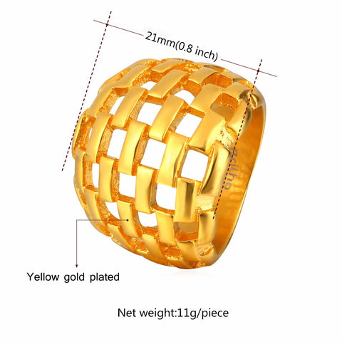 Image of Big Ring Men Jewelry Wholesale Gold Color 21MM Wide Hollow Wedding Party Bands Stainless Steel Rings for Men