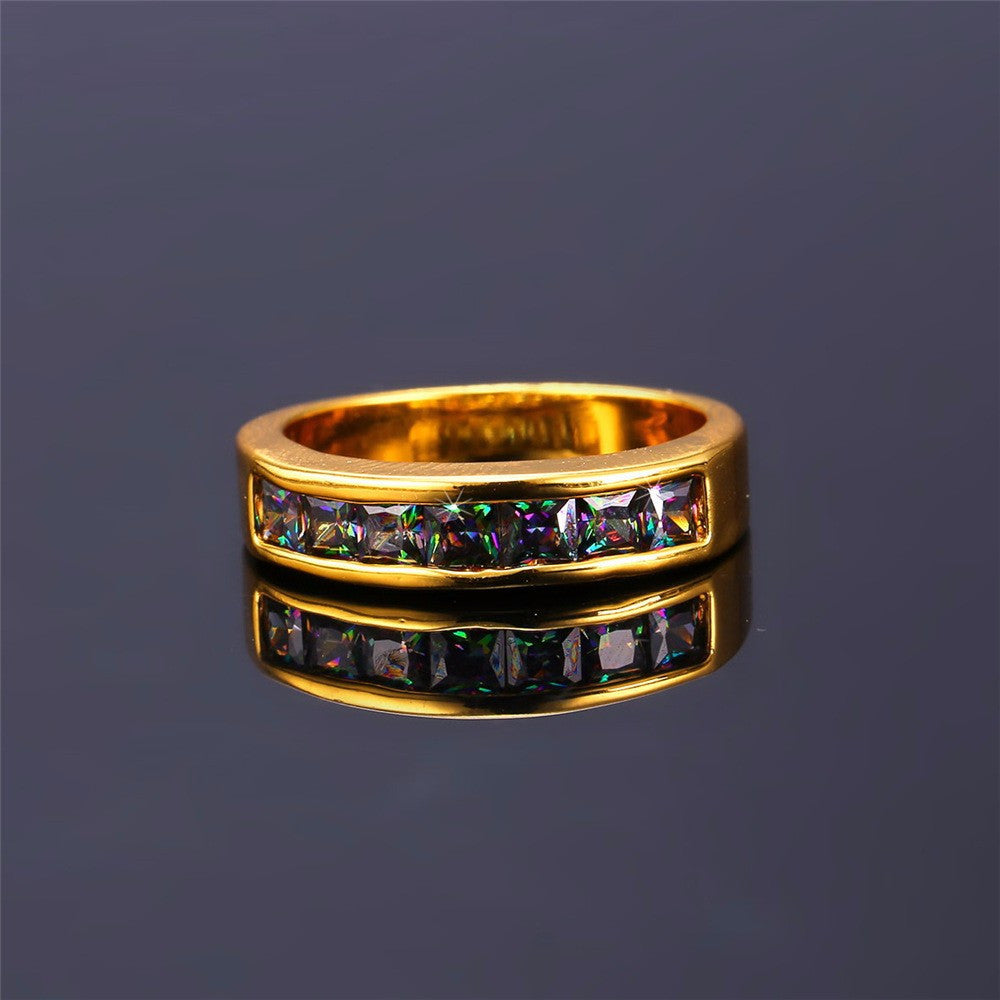 Zircon Brand Ring Fashion Jewelry Gold Color 5MM Wide Party Gift Round Rings For Women R426