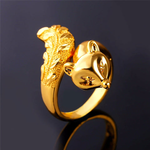 Image of Fashion Animal Ring For Women Jewelry Gold/Silver Color Trendy Cool Party Fire Fox Ring Wholesale R437