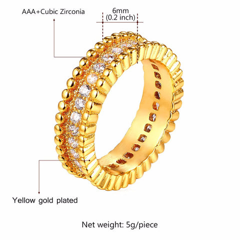 Image of Luxury AAA Cubic Zirconia Ring Jewelry Wholesale Gold/Silver Color Trendy Party Gift Round Rings Women/Men Jewelry R328