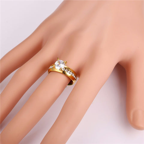 Brand Fashion Engagement Rings For Women Jewelry Gold Color Stainless Steel Rhinestone Crystal Wedding Rings Gift R441