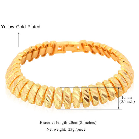 Image of Bracelet Men Jewelry Gift Wholesale Trendy Gold/Silver Color 20 CM 10 MM Wide Link Chain Bracelet  H548