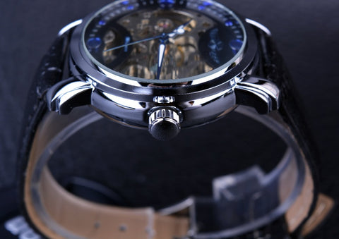Blue Ocean Engraving Design Leather Strap Skeleton Watch