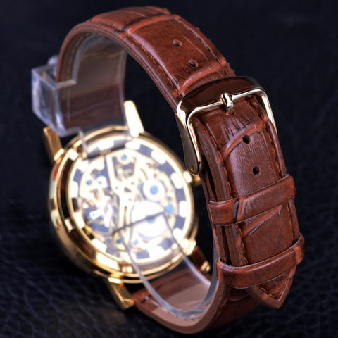 Image of Transparent Brown Leather Skeleton Watch
