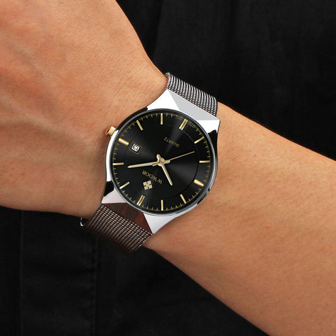 Image of New Men Watches Top Brand Luxury 50m Waterproof Ultra Thin Date Clock Male Steel Strap Casual Quartz Watch Men Wrist Sport Watch
