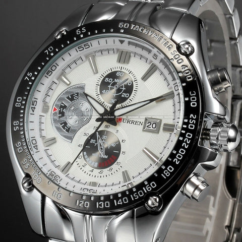 Dial Water Quartz Hours Date Silver Hand Sport Men Steel Wrist Watch top brand Mens watch M926L