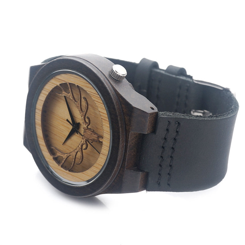 Deear Head Japan Movement Quartz Wooden Watch