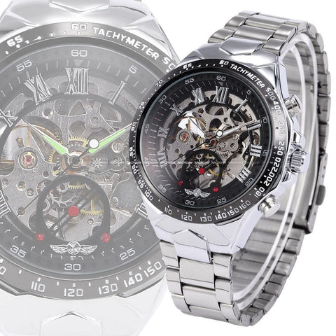 Relojes Classic Stainless Steel Self Wind Mechanical Skeleton Watch