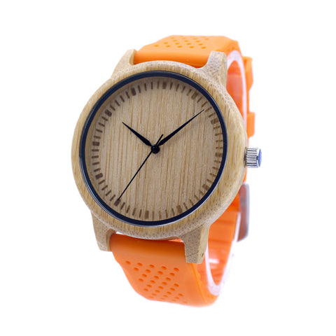 Image of Wood Quartz Japanese Movement Inside With Soft Silicone Strap Casual Ladies Bamboo Watch