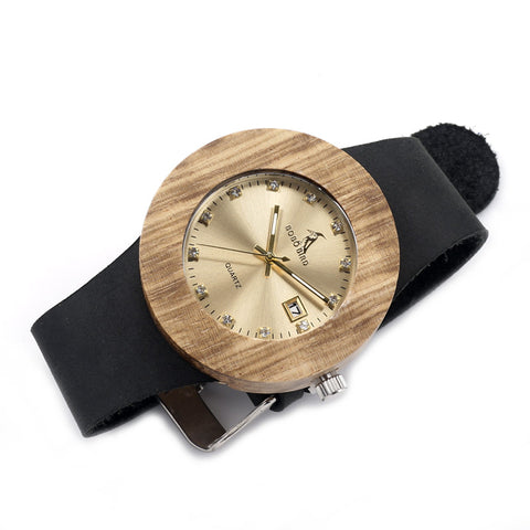 Image of Round Vintage Design Luxury Gold Wooden Bamboo Watch