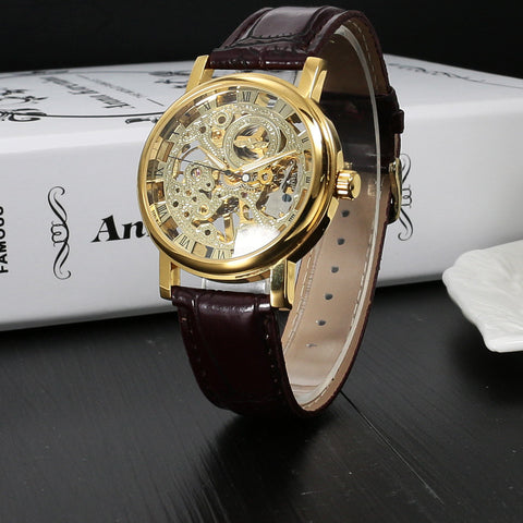 Top Brand Luxury Fashion Casual Stainless Steel Men Mechanical Watch Skeleton Hand Wind Watch For Men Dress Wristwatch