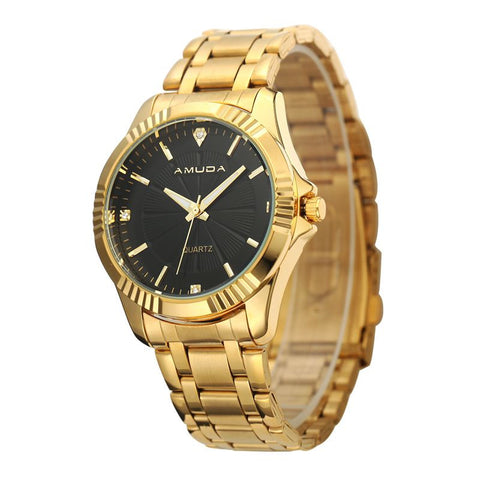 Image of Men Clock Fashion Business Watch Luxury Brand Full Stainless Steel Quartz-Watch Man Wrist Watch Wholesale Gold Watch Men