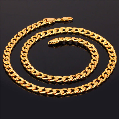 Image of Cuban Link Chain Necklace Wholesale Rose Gold/Black Gun/Silver/Gold Color 7MM Long/Choker Men Jewelry Hip Hop N317