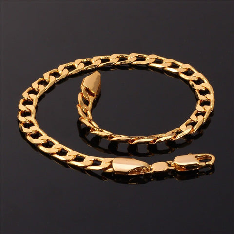 Gold Color Link Chain Bracelet Hip Hop Jewelry Wholesale 21CM Cuban Link Chain Bracelets For Men/Women Gift H589