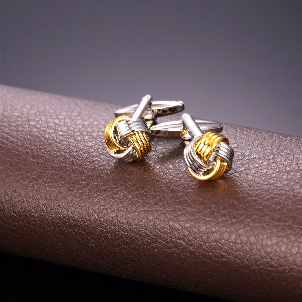Brand New Cufflinks For Mens Two Tone Gold Color Fashion Jewelry Trendy Men Suit Style Cuff links Gift C023