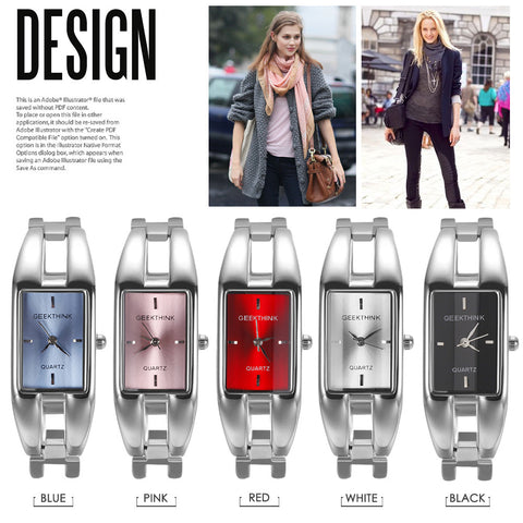 Image of Luxury Brand Quartz Watch Women rectangle Stainless steel band female clock Bracelet Lady Casual Wristwatch gift New