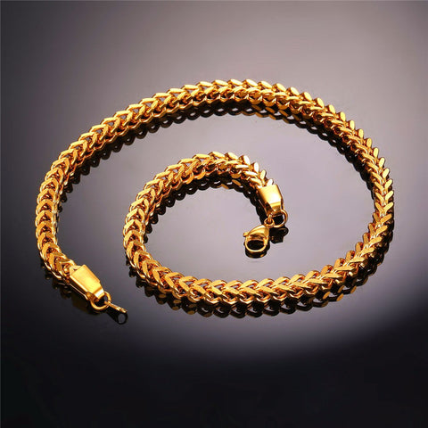 Gold Color Chain For Men Hiphop Jewelry Wholesale Stainless Steel Steampunk Style Wheat Chain Chunky Necklace N435