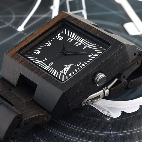 Analog Black Sandal Wood Watch