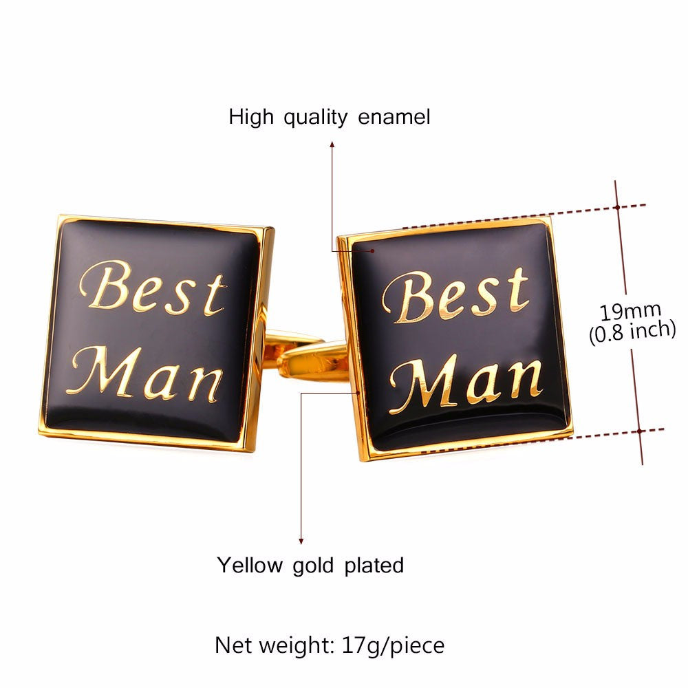 Cuff Button links For Men Office/Wedding Suit Accessories Fashion Jewelry Black Gold Color Best Man Letter Cufflinks C026