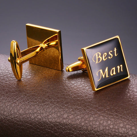 Image of Cuff Button links For Men Office/Wedding Suit Accessories Fashion Jewelry Black Gold Color Best Man Letter Cufflinks C026
