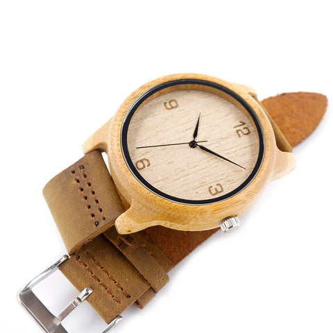 Brown Cowhide Leather Strap Bamboo Watch