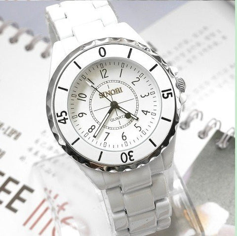 Image of Fashion brand Sinobi Ladies Luxury Metal Quartz Watches Women Unisex Gift Watch white black couple lovers wristwatch 1850