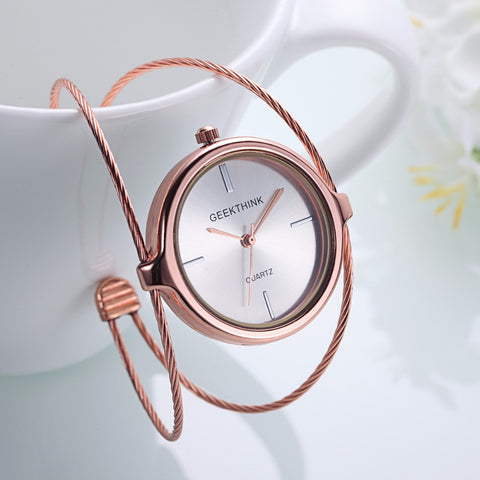 Image of Unique Fashion Brand Quartz Watch Women Bracelet Ladies Rose Gold Watch female Luxury Double Ring steel band casual