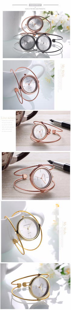 Unique Fashion Brand Quartz Watch Women Bracelet Ladies Rose Gold Watch female Luxury Double Ring steel band casual