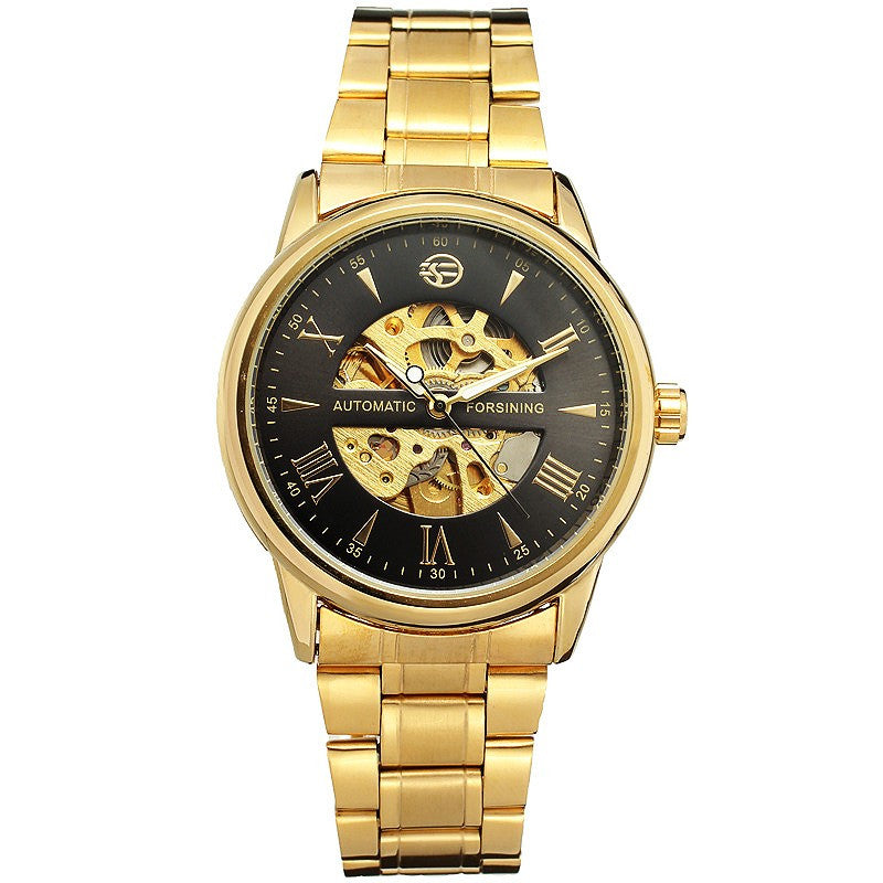 Luxury Men Watch Automatic Mechanical Lover's Wristwatch Stainless Steel Band Luminous Hands Skeleton Clock