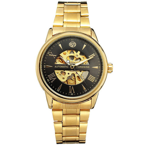 Image of Luxury Men Watch Automatic Mechanical Lover's Wristwatch Stainless Steel Band Luminous Hands Skeleton Clock