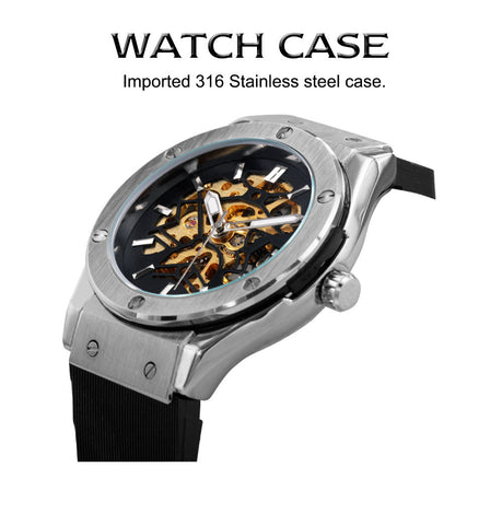 Image of Men Military Watch Fashion Auto Mechanical Wristwatch Rubber Strap Skeleton Stainless-steel Case reloj hombre