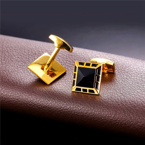 Image of New Square Cufflinks Men Jewelry Classic Gold Color Men Suit Wedding Wholesale Black Cufflinks For Mens Gift C027