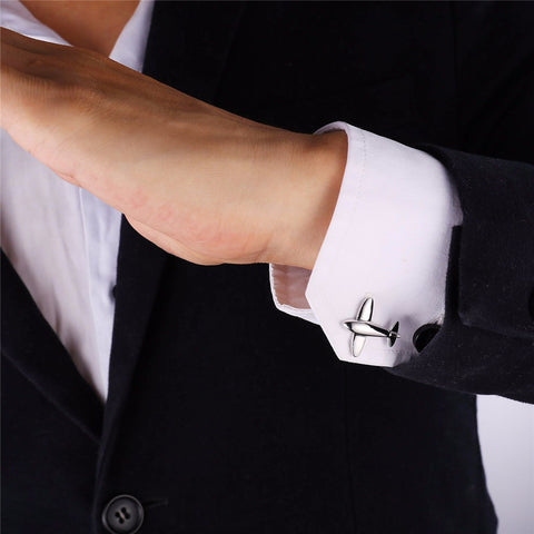 Image of New Plane Cufflinks For Mens Fashion Jewelry Trendy Gold Color Men Suit Aircraft Style Cufflinks Box C021