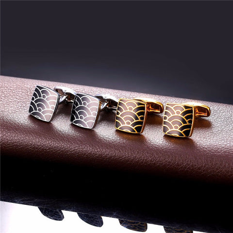 Image of Classic Cloud Pattern Mens Cufflinks Gold Color Men Business Suit Cuff Buttons Wholesale Clips & Cufflinks C025