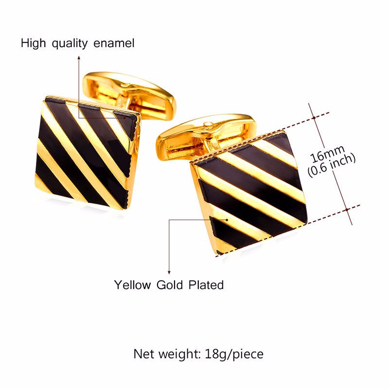 Classic Black Square Cufflinks For Mens Fashion Gold Color Diagonal Stripe Cuff Button Men Suit Jewelry With Box C011