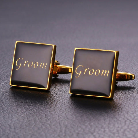 Wedding Men Suit Cuff Links For Groom Name Jewelry Romantic Gift  Gold Color Groom Letter Cufflink Box Wholesale C009