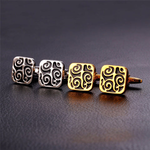 Image of Mens Cufflinks Gold/Silver Color Lucky Business Classic Square Cuff Buttons Wholesale Vintage Cuff Links Men Jewelry C038