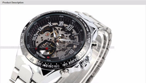 Image of Relojes Classic Stainless Steel Self Wind Mechanical Skeleton Watch