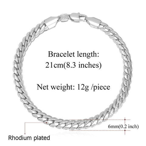 Image of Gold Color Chain Bracelet  Men Jewelry Gift Wholesale 21CM 6MM Hand Chain & Link Bracelet Trendy H339