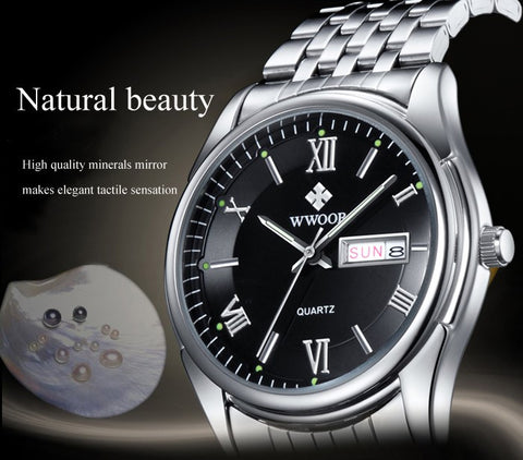 Luxury Brand Men Watches Men's Quartz Date Luminous Clock Male Stainless Steel Casual Sports Watch White Dial relogio masculino
