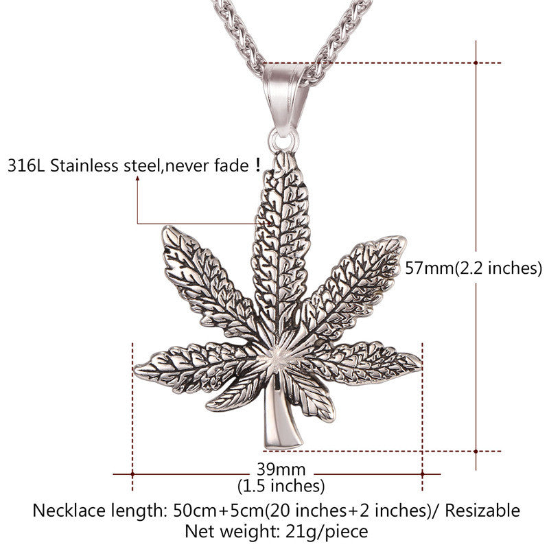 Brand Maple Leaf Charm Necklace Stainless Steel Gold Color Chain & Pendant For Men/Women Fashion Jewelry 2017 New P1016
