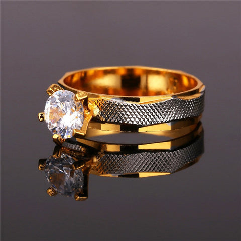 Image of Crystal Cubic Zirconia Brand Ring Gold Color Fashion Jewelry Party Women Gift Trendy Wedding Bands Rings R370
